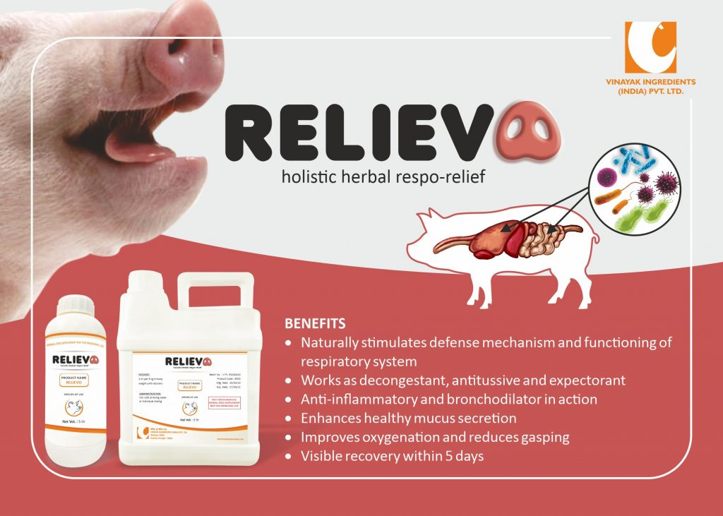 RELIEVO is a feed supplement for pigs, swine, hog.